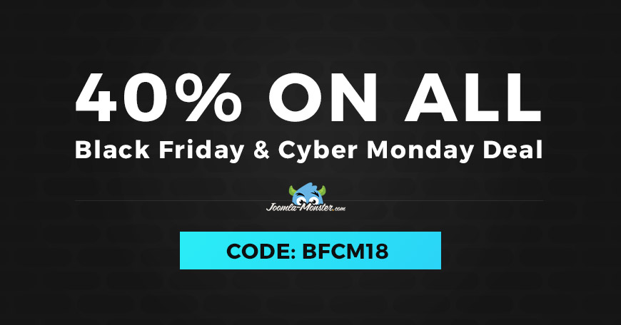 Black Friday / Cyber Monday 2018 deal discount on Joomla templates