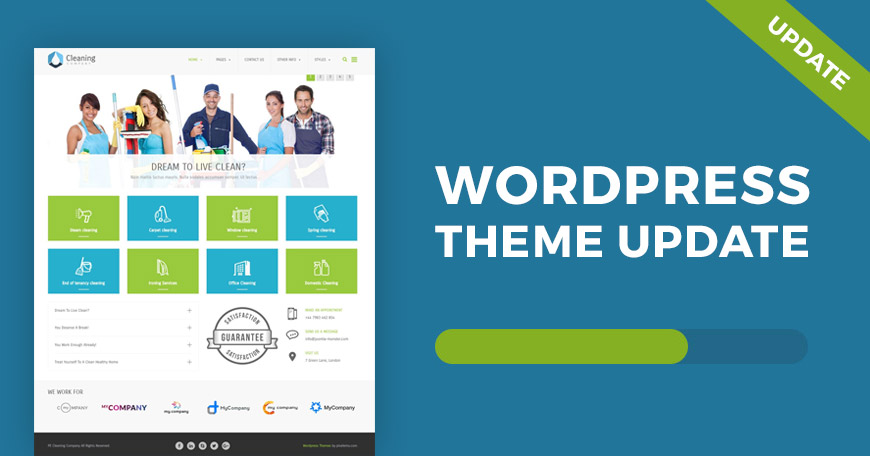 Cleaning company WordPress theme updated
