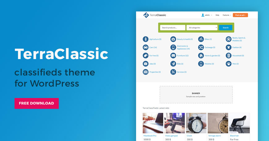 free classifieds WordPress theme