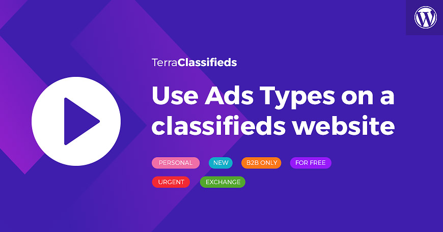 how to use Ads Types in TerraClassifieds classifieds plugin for WordPress
