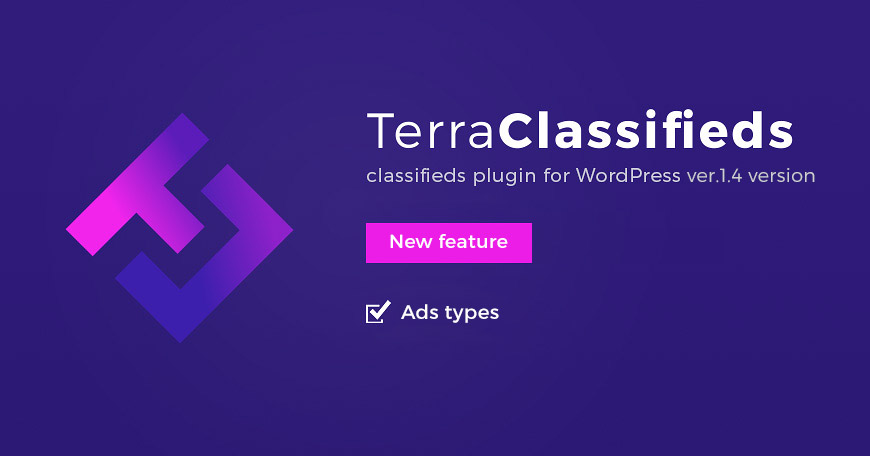 classifieds plugin for WordPress released with new feature Ads Types