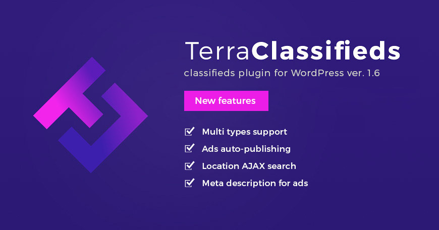 TerraClassifieds WordPress classifieds plugin updated to ver. 1.6. Check what changed.