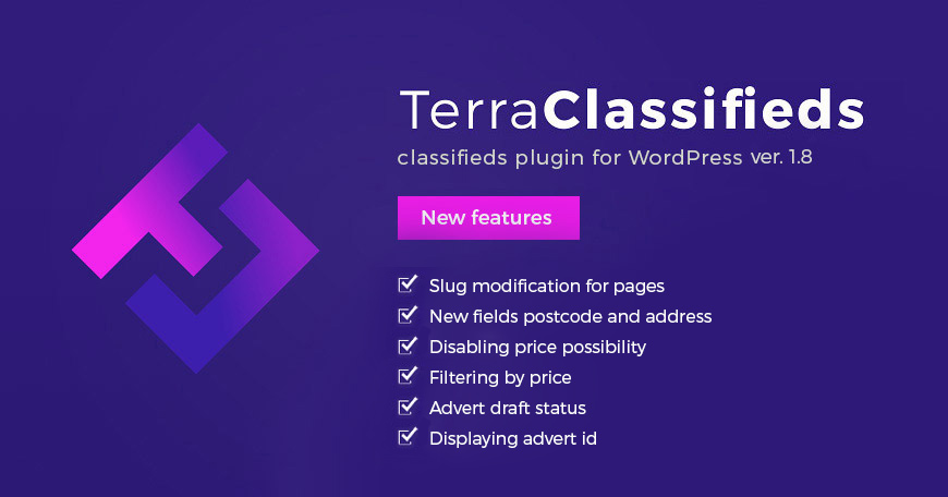 TerraClassifieds WordPress classifieds plugin updated to ver. 1.8.