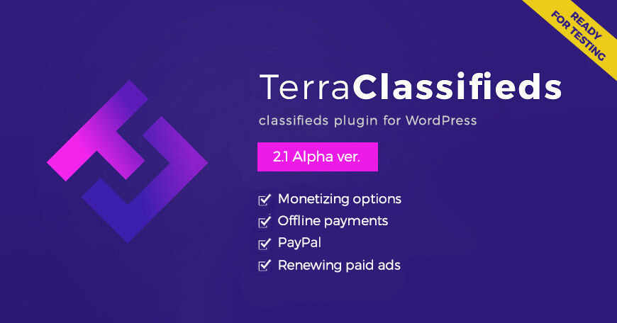 TerraClassifieds with monetizing options ready for testing - WordPress classifieds plugin