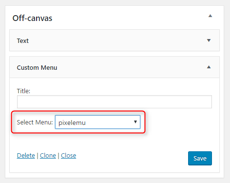 select wordpress menu to display