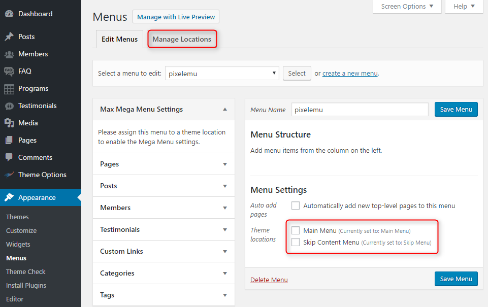 WordPress menu location