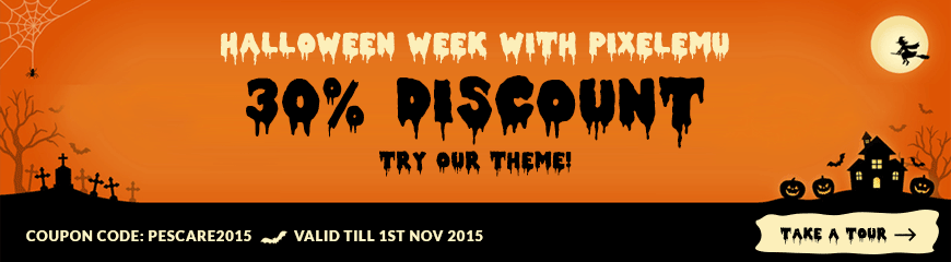 Halloween with Pixelemu! Try our theme with high discount!