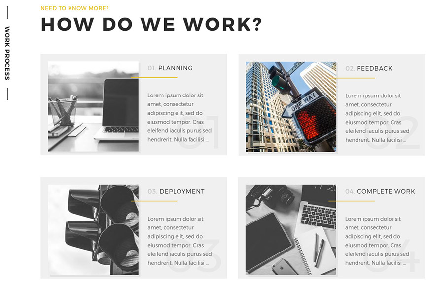 portfolio wordpress theme work process