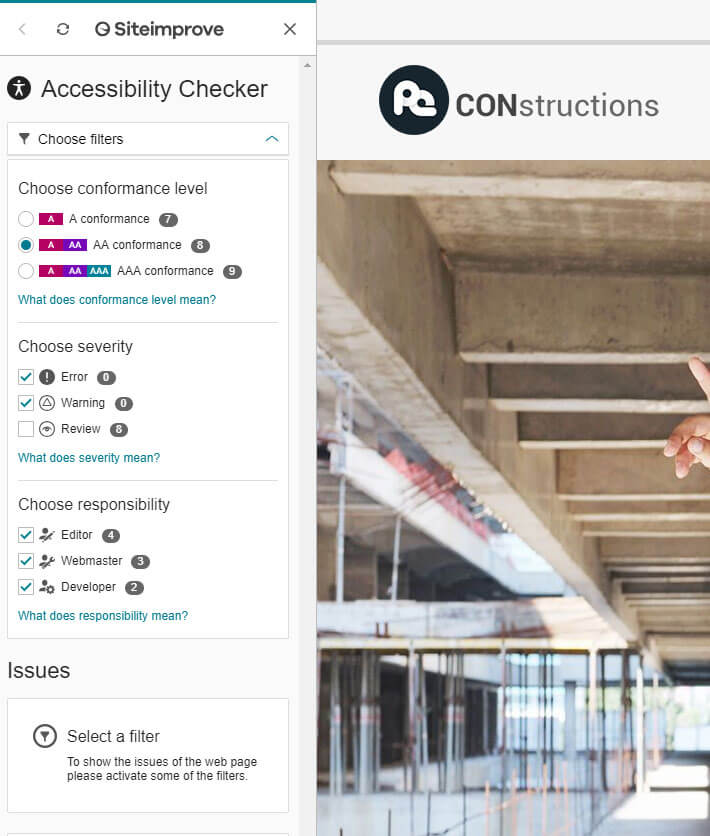 Siteimprove accessibility tool on WCAG AA level for WordPress theme