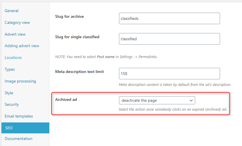 Added option to choose behavior for expired adverts.