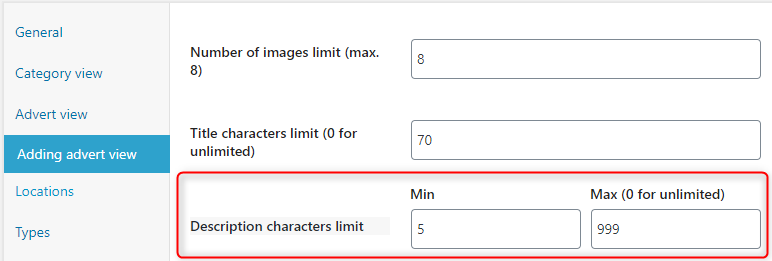 You can set minimum and maximum characters limit for a description in the 'Add advert' view.