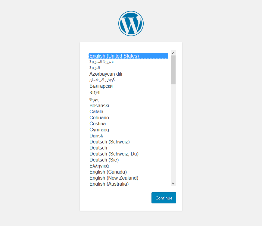 wordpress installation - choose language