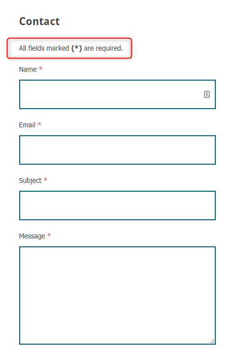 Added information about required fields at the top of the contact form for page template 'Contact Page' and widget 'PE Form'