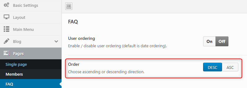 Added option to order FAQ items ascending or descending