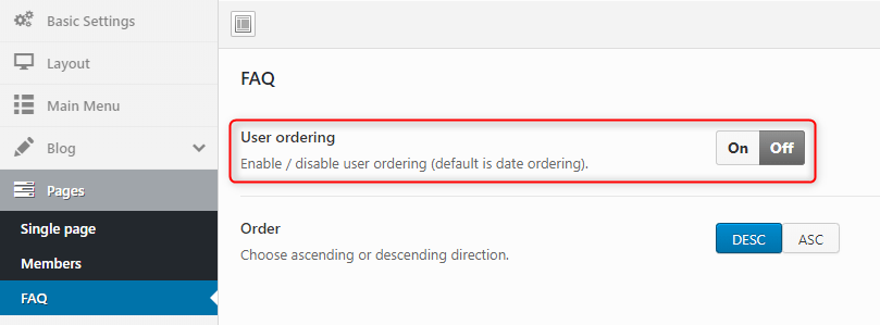 Added option 'user ordering' for FAQ items