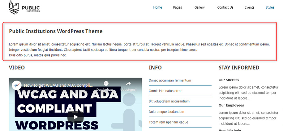content area displayed on the front page wordpress