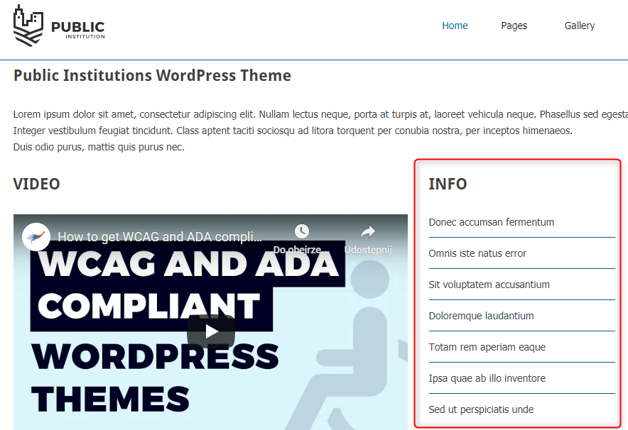 info menu public institutions theme wordpress