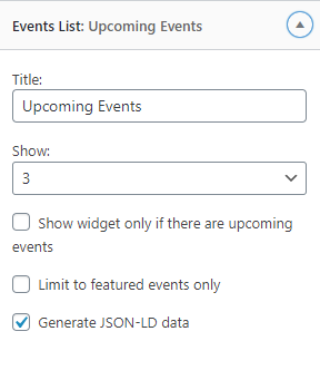 events widget list wordpress