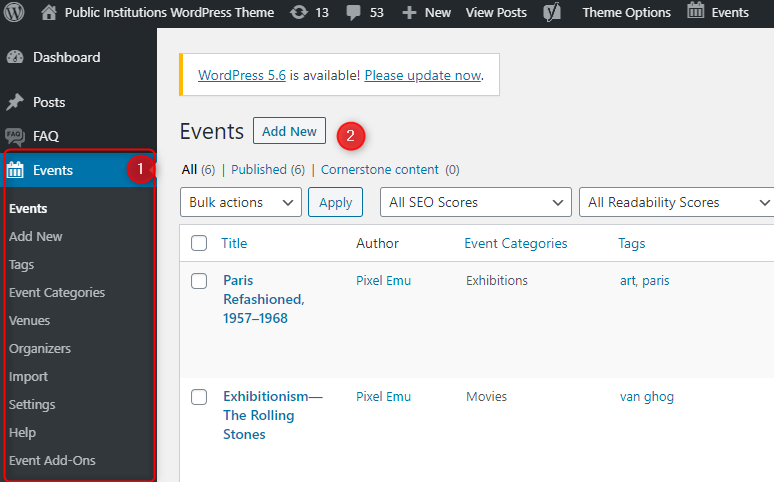 events calendar plugin wordpress theme
