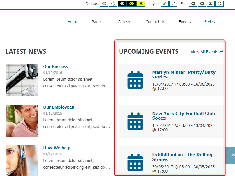 upcoming events widget wordpress
