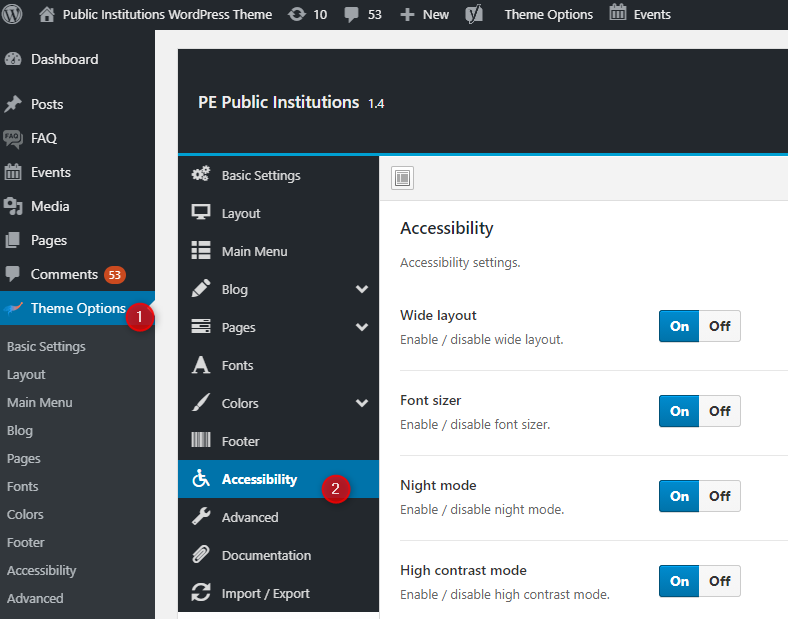 accessibility options wordpress theme