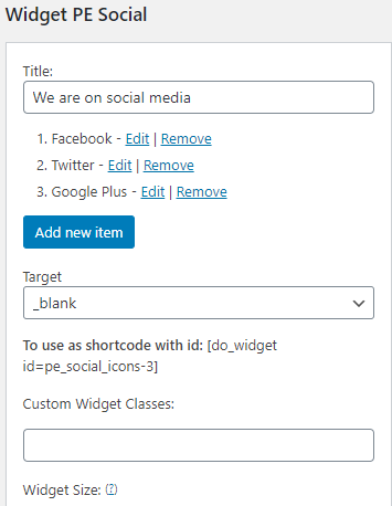 "We are displaying this widget in the ""Social"" Sidebar wordpress"