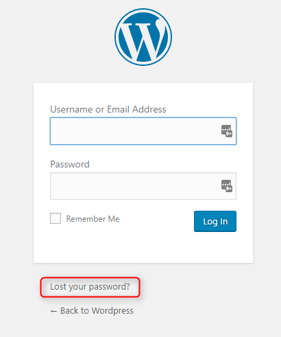 Recover password in WordPress by e-mail