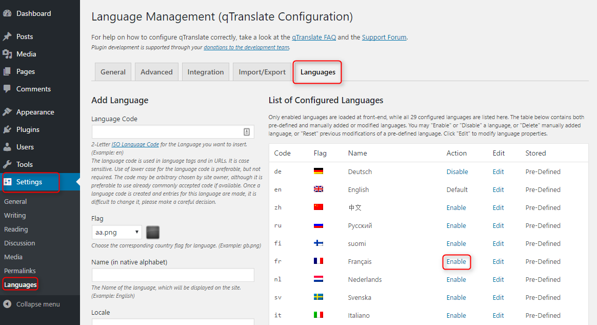 multilingual WordPress site with qTranslate