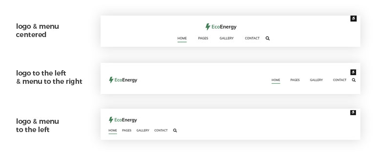eco energy wordpress theme menu