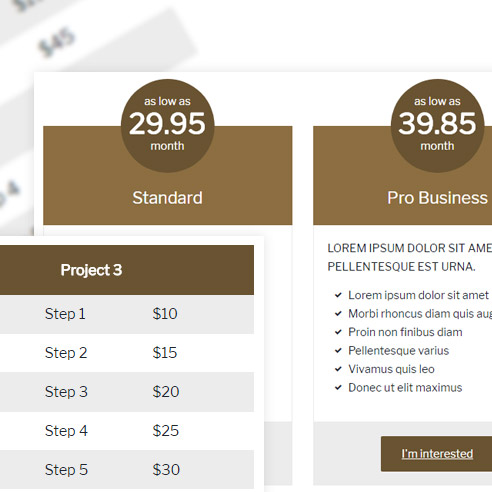 pricing wordpress shortcode